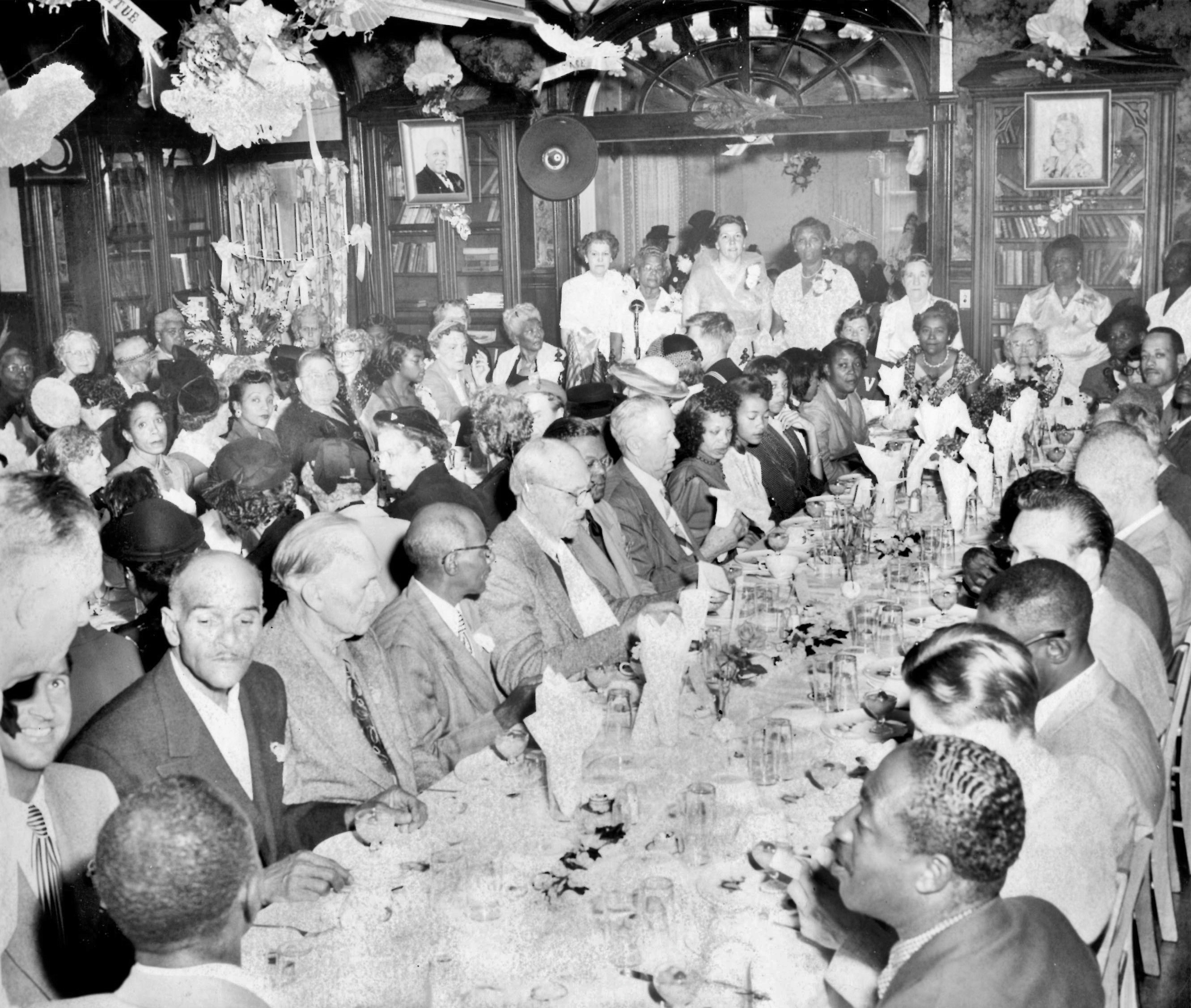 An image of one of Father Divine's banquets.