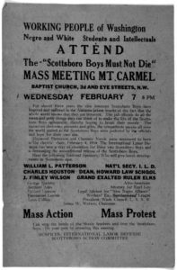 "An image of a flyer calling for a meeting to protest the ""Scottsboro Boys'"" conviction. The Peace Mission provided Great Depression relief."